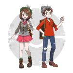 1boy 1girl :d asatsuki_(fgfff) backpack bag beanie boots brown_bag brown_eyes brown_footwear brown_hair buttons cable_knit cardigan collared_dress commentary_request denim dress gloria_(pokemon) green_headwear green_legwear grey_cardigan grey_headwear hand_up hat highres holding holding_poke_ball holding_strap hooded_cardigan jeans knees official_style open_mouth pants pink_dress plaid plaid_legwear poke_ball poke_ball_(basic) pokemon pokemon_(game) pokemon_swsh red_shirt shirt shoes sleeves_rolled_up smile socks standing suitcase tam_o'_shanter tongue torn_clothes torn_jeans torn_pants victor_(pokemon)