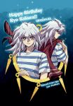 2boys bakura_ryou bangs bright_pupils character_name closed_mouth commentary_request dated dual_persona grey_hair hand_up happy_birthday highres holding long_hair male_focus millennium_ring multiple_boys number red_eyes shirt smile soya_(sys_ygo) striped striped_shirt t-shirt twitter_username white_pupils white_shirt yami_bakura yu-gi-oh! yu-gi-oh!_duel_monsters