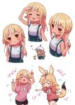 2girls :d animal_ears arm_up bare_arms bare_shoulders baseball_cap black_shorts blonde_hair blush braid closed_eyes duplicate flower fox_ears fox_girl fox_tail hand_up hat head_tilt highres hololive index_finger_raised long_hair multicolored_hair multiple_girls multiple_views omaru_polka open_mouth overall_shorts overalls pink_shirt pixel-perfect_duplicate pointy_ears red_eyes red_shirt sasaki_(glass1138) shiranui_flare shirt short_shorts shorts sleeveless sleeveless_shirt smile squatting streaked_hair tail tan translation_request very_long_hair virtual_youtuber white_hair white_headwear white_shirt yellow_flower
