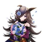 1girl absurdres animal_ears belt black_hair blue_dress blue_flower blue_headwear blue_rose bouquet brown_belt closed_mouth clothing_cutout commentary dagger dress flower gothic hair_over_one_eye hat hat_flower highres holding holding_bouquet horse_ears horse_girl knife leather_belt long_hair long_sleeves looking_at_viewer purple_dress rice_shower_(umamusume) rose sheath sheathed shoulder_cutout simple_background smile solo standing tilted_headwear two-tone_dress umamusume very_long_hair violet_eyes weapon white_background zaofeng