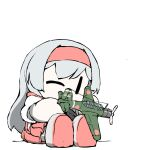 1girl aircraft airplane boots chibi grey_footwear hairband hip_vent japanese_clothes kantai_collection long_hair miko muneate no_mouth one_eye_closed red_hairband red_skirt shoukaku_(kancolle) silver_hair simple_background sitting skirt solo task_(s_task80) white_background