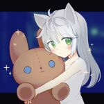 1girl amiya_(arknights) animal_ears arknights bangs bare_arms blush cat_ears cat_girl chinese_commentary closed_mouth doll_hug dress eyebrows_visible_through_hair green_eyes huiliufeiyuyu long_hair looking_to_the_side object_hug rosmontis_(arknights) solo stuffed_animal stuffed_bunny stuffed_toy white_dress younger