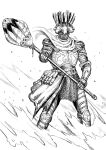 1other ambiguous_gender armor breastplate cape chainmail commentary english_commentary facing_viewer full_armor gauntlets greaves greyscale helmet highres holding holding_polearm holding_weapon making-of_available monochrome original polearm solo standing two-handed weapon y_naf
