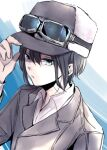1girl androgynous bangs black_hair blue_background blue_eyes brown_coat brown_headwear closed_mouth coat commentary dress_shirt expressionless fur_hat goggles goggles_on_headwear gradient gradient_background hair_between_eyes hand_on_headwear hat karaniki137 kino_(kino_no_tabi) kino_no_tabi long_sleeves looking_at_viewer lowres portrait reverse_trap shaded_face shirt short_hair solo tomboy trench_coat ushanka white_background white_shirt