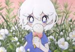 1girl blue_hair blush bright_pupils covered_mouth dated double_scoop flower food hair_between_eyes highres ice_cream ice_cream_cone leaf medium_hair melting original plant short_sleeves signature solo tears upper_body white_flower white_hair white_pupils zukky000