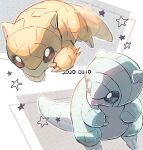 alolan_form alolan_sandshrew blurry brown_eyes claws commentary_request dated dual_persona gen_1_pokemon gen_7_pokemon looking_back nao_(naaa_195) no_humans number outline pokemon pokemon_(creature) sandshrew standing star_(symbol)
