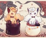 alolan_form alolan_vulpix bow brown_eyes cake character_name closed_mouth commentary_request dual_persona food gen_1_pokemon gen_7_pokemon highres nao_(naaa_195) no_humans pokemon pokemon_(creature) ribbon sitting smile toes violet_eyes vulpix
