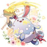 :d azumarill brown_eyes commentary_request easter egg flower gen_2_pokemon happy_easter holding holding_paintbrush leaf looking_up nao_(naaa_195) no_humans open_mouth paint paintbrush pokemon pokemon_(creature) red_ribbon ribbon smile solo tongue