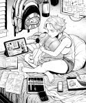 1girl anomalocaris backpack backpack_removed bag bare_arms barefoot bed bowl cellphone chopsticks closed_mouth crossed_legs frown greyscale highres lantern monochrome notebook on_bed original pen phone sitting smartphone stuffed_animal stuffed_toy tablet_pc toenails toes tray y_naf