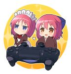 2girls absurdres apron bangs blue_bow blue_eyes blush bow bowtie brown_dress brown_eyes brown_kimono chibi closed_mouth controller dress dualshock eyebrows_visible_through_hair game_controller gamepad hair_between_eyes hair_bow half_updo highres hisui_(tsukihime) itsuka_neru japanese_clothes juliet_sleeves kimono kohaku_(tsukihime) long_sleeves maid maid_apron maid_headdress multiple_girls open_mouth playstation_controller puffy_sleeves red_bow red_neckwear redhead short_hair siblings sidelocks sisters sleeves_past_fingers sleeves_past_wrists smile tsukihime tsukihime_(remake) twins wa_maid white_apron wide_sleeves