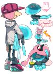 ..._(331608) 1boy arrow_(symbol) black_pants carrying carrying_against_hip carrying_overhead cup drinking falling from_behind full_body grey_hoodie holding holding_cup hood hoodie inkling jellyfish looking_at_another pants pink_footwear pink_hair pink_headwear pointy_ears red_eyes shaded_face shoes simple_background splatoon_(series) splatoon_2 squid white_background