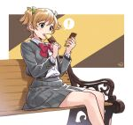 ! 1girl bangs bench blush bow bowtie brown_background buttons cellphone collared_shirt commentary_request daiba_nana dress_shirt eating eyebrows_visible_through_hair feet_out_of_frame fingernails food green_eyes green_ribbon grey_jacket grey_skirt hair_ribbon hands_up holding holding_food holding_phone itooooofu8282 jacket light_brown_hair long_sleeves looking_at_phone miniskirt multicolored multicolored_background open_clothes open_jacket open_mouth park_bench phone pleated_skirt popsicle rectangle red_bow red_neckwear ribbon school_uniform seishou_music_academy_uniform shadow shiny shiny_hair shirt shirt_tucked_in short_hair short_twintails shoujo_kageki_revue_starlight sitting skirt smartphone solo speech_bubble spoken_exclamation_mark twintails upper_teeth white_background white_shirt yellow_background