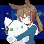1girl amiya_(arknights) animal_ears arknights bangs blue_eyes blush brown_hair chinese_commentary closed_mouth doll_hug dress eyebrows_visible_through_hair huiliufeiyuyu long_hair long_sleeves looking_to_the_side object_hug ponytail rabbit_ears rabbit_girl rosmontis_(arknights) sailor_dress solo stuffed_animal stuffed_cat stuffed_toy younger