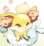 azumarill closed_mouth commentary_request cushion fennekin gen_2_pokemon gen_6_pokemon looking_up nao_(naaa_195) no_humans orange_eyes pokemon pokemon_(creature) smile solo themed_object yellow_fur
