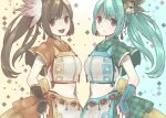 2girls alternate_color animal_hair_ornament aqua_background aqua_hair argyle argyle_background armpit_crease arms_at_sides bangs belt bow breasts brown_hair chain chain_belt checkered checkered_skirt chinese_clothes closed_mouth colorful crop_top dual_persona earrings eyebrows_visible_through_hair fingernails floating_hair flower gauntlets green_skirt hair_flower hair_ornament hand_on_hip happy hiyo_(1571624) jewelry light_blush long_hair looking_at_viewer magia_record:_mahou_shoujo_madoka_magica_gaiden mahou_shoujo_madoka_magica medium_breasts midriff multiple_girls muted_color navel open_mouth orange_eyes orange_flower orange_skirt parted_bangs sad shiny shiny_hair side-by-side side_ponytail sideways_glance skirt smile soul_gem swept_bangs tareme two-tone_background unmoving_pattern upper_body uwasa_no_tsuruno violet_eyes waist_bow wide_sleeves yellow_background yellow_bow yui_tsuruno