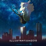 1girl 2018_fifa_world_cup barefoot black_hair city falling from_behind illustration.media long_hair mocha_(cotton) night night_sky original outdoors signature sky solo upside-down world_cup