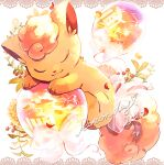 character_name closed_eyes closed_mouth commentary_request gen_1_pokemon heart leaf nao_(naaa_195) no_humans number pokemon pokemon_(creature) sleeping smile solo toes vulpix