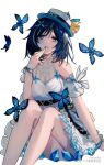 1girl arm_support bare_legs bare_shoulders blue_butterfly blue_eyes blue_hair bracelet bug butterfly clothing_cutout commentary_request dattte dress feet_out_of_frame finger_to_mouth hair_ornament hand_up hat highres honkai_(series) honkai_impact_3rd jewelry looking_at_viewer medium_hair parted_lips seele_vollerei shoulder_cutout simple_background sitting solo watermark white_background white_dress white_headwear