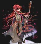 1girl absurdres black_background black_legwear black_shirt black_skirt breasts brown_coat coat eyepatch falling_petals hero_cantare highres holding holding_weapon hwa_ryun leenim long_coat long_hair looking_at_viewer official_art one_eye_covered parted_lips petals red_eyes redhead shirt skirt solo tower_of_god very_long_hair weapon