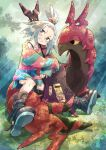 bass_guitar bike_shorts blue_eyes boots bra_strap bug centipede dress forehead freckles gen_5_pokemon grass hair_bobbles hair_ornament instrument light looking_to_the_side pokemon pokemon_(game) pokemon_bw2 roxie_(pokemon) scolipede sitting smile topknot tree tree_shade white_hair yuitility