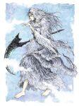 barefoot comma03 dark_souls_(series) dragon_girl fluffy green_eyes highres holding holding_weapon monster_girl priscilla_the_crossbreed scythe tail weapon white_fur white_hair