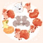 alolan_form alolan_vulpix alternate_color blue_eyes blush bow closed_eyes closed_mouth commentary_request flower gen_1_pokemon gen_7_pokemon looking_back nao_(naaa_195) no_humans number orange_flower pokemon pokemon_(creature) shiny_pokemon sleeping smile translation_request vulpix