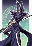1boy bangs boots closed_mouth commentary_request dark_magician duel_monster hat highres holding holding_staff long_hair male_focus pillarboxed purple_hair smile solo soya_(sys_ygo) staff twitter_username wizard_hat yu-gi-oh!