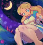 1girl 1other alice_(alice_in_wonderland) alice_in_wonderland artist_name black_ribbon blonde_hair blue_dress blue_eyes bottle breasts cat cheshire_cat_(alice_in_wonderland) collared_dress dress frilled_dress frills hair_ornament hairband hand_on_own_cheek hand_on_own_face highres holding holding_bottle leggings long_hair pantyhose pinafore_dress plump ribbon solo_focus starmilk sweatdrop thick_thighs thigh-highs thighs twitter_username white_legwear