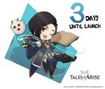 1girl bird black_hair book boots brown_eyes chibi copyright copyright_name countdown english_text fururu_(tales) logo looking_at_viewer magic official_art open_book owl rinwell_(tales) smile solo tales_of_(series) tales_of_arise thigh-highs