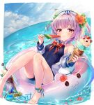 1girl :t absurdres anchor_symbol ankle_strap barefoot blue_swimsuit blush chewing closed_mouth flower food gemini_seed hair_flower hair_ornament hat highres ice_cream ice_cream_cone innertube light_rays looking_at_viewer ocean one-piece_swimsuit piyoyanagi popsicle purple_hair red_eyes sailor_hat school_swimsuit short_hair solo summer sunbeam sunlight swimsuit triple_scoop two_side_up watermelon_bar