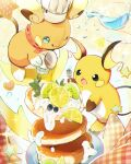 :o :q alolan_form alolan_raichu blue_eyes chef_hat closed_mouth commentary_request food fork fruit gen_1_pokemon gen_7_pokemon glass hat hatted_pokemon holding holding_fork lemon lemon_slice nao_(naaa_195) no_humans one_eye_closed open_mouth pancake pokemon pokemon_(creature) pouring raichu saucer smile sparkle tongue tongue_out water white_headwear