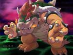 1boy bowser bracelet breathing_fire claws closed_mouth dated fire full_body highres horns jewelry looking_at_viewer male_focus outdoors red_eyes redhead sharp_teeth smile solo spiked_bracelet spiked_shell spikes standing super_mario_64 super_mario_bros. teeth thick_eyebrows ya_mari_6363