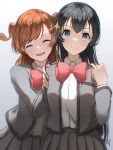 2girls :d ^_^ aijou_karen aoi_hane arm_at_side artist_name bangs behind_another blue_eyes blurry bow bowtie breast_pocket brown_hair closed_eyes closed_mouth collared_shirt commentary_request cowboy_shot crown_hair_ornament depth_of_field eyebrows_visible_through_hair facing_viewer gradient gradient_background grey_background grey_jacket grey_skirt hair_ornament hand_up hands_on_another's_shoulders hands_up highres jacket kagura_hikari light_smile long_hair long_sleeves looking_at_viewer multiple_girls open_clothes open_jacket open_mouth pleated_skirt pocket red_bow red_neckwear school_uniform seishou_music_academy_uniform shirt shirt_tucked_in short_hair shoujo_kageki_revue_starlight signature skirt smile sparkle_hair_ornament split_mouth standing swept_bangs two_side_up very_long_hair white_background white_shirt