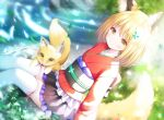 1girl animal animal_ear_fluff animal_ears black_skirt blonde_hair blush brown_eyes closed_mouth day feet_out_of_frame fox fox_ears fox_girl fox_tail hair_ornament japanese_clothes kimono long_sleeves looking_at_viewer murano obi original outdoors pleated_skirt red_kimono river sash sitting skirt smile solo tail thigh-highs water white_legwear