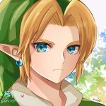 1boy bangs blonde_hair blue_eyes earrings face frown grey_background heart jewelry link looking_at_viewer male_focus multicolored multicolored_background parted_bangs pointy_ears portrait seri_(yuukasakura) signature solo the_legend_of_zelda the_legend_of_zelda:_ocarina_of_time translation_request