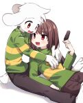 1boy 1other arm_support asriel_dreemurr bangs barefoot blush bob_cut brown_hair brown_pants chara_(undertale) fangs food furry furry_male gold_necklace green_shirt heart heart_necklace highres holding holding_food leftporygon long_sleeves looking_at_another medium_hair multicolored_shirt open_mouth orange_eyes pants popsicle red_eyes shirt simple_background skin_fangs smile swept_bangs tail tareme teeth tsurime turtleneck undertale white_background white_fur yellow_shirt