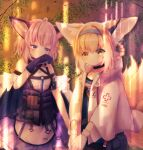 2girls ahoge animal_ears arknights black_collar black_legwear blonde_hair blue_eyes blue_hairband blue_shirt blush braid brown_hair chrocatz collar commentary_request cosplay costume_switch dress earpiece eyebrows_visible_through_hair fox_ears fox_girl fox_tail gloves green_eyes hairband highres infection_monitor_(arknights) jacket kitsune light_rays looking_at_viewer multicolored_hair multiple_girls multiple_tails open_clothes open_jacket outdoors pantyhose pouch purple_dress shirt short_hair sidelocks smile streaked_hair sussurro_(arknights) suzuran_(arknights) tactical_clothes tail two-tone_dress vest vial white_dress white_gloves white_hair white_jacket