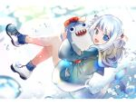 1girl aa2233a bangs bloop_(gawr_gura) blue_eyes blue_hair blue_hoodie blue_legwear fish_tail gawr_gura hair_ornament holding holding_stuffed_toy hololive hololive_english hood hoodie letterboxed long_sleeves looking_at_viewer multicolored_hair open_mouth sharp_teeth shoes signature smile sneakers socks solo streaked_hair stuffed_toy tail teeth virtual_youtuber white_footwear wide_sleeves