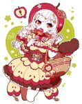 ! 1girl animal_hands apple apple_hair_ornament apple_print bangs basket braid candy_apple capelet colored_skin commentary corset cropped_legs dress flower food food-themed_hair_ornament fruit hair_flower hair_ornament holding holding_basket holding_food little_red_riding_hood little_red_riding_hood_(grimm) long_hair long_sleeves looking_at_viewer multicolored multicolored_eyes murasaki_daidai_etsuo orange_eyes print_capelet print_dress puffy_long_sleeves puffy_sleeves red_eyes red_hood solo speech_bubble spoken_exclamation_mark twin_braids white_hair white_skin