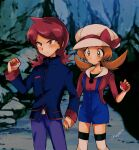 1boy 1girl absurdres amayu_(amaamailust) blue_jacket blue_overalls bow brown_eyes brown_hair cabbie_hat closed_mouth commentary_request frown hat hat_bow highres holding holding_hands holding_poke_ball jacket long_hair lyra_(pokemon) pants poke_ball poke_ball_(basic) pokemon pokemon_(game) pokemon_hgss purple_pants red_bow red_eyes red_shirt redhead shirt signature silver_(pokemon) standing thigh-highs twintails white_headwear white_legwear