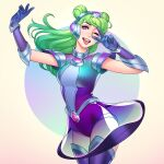 1girl arm_up armor bangs blue_background blue_gloves boots breasts cowboy_shot double_bun dress floating_hair gloves green_hair hand_up headgear large_breasts league_of_legends leotard long_hair looking_at_viewer lux_(league_of_legends) one_eye_closed open_mouth pink_eyes purple_gloves see-through shiny shoulder_armor smile solo space_groove_lux thigh-highs thigh_boots tongue tongue_out tsuaii upper_teeth v white_background
