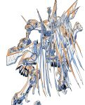 arm_cannon from_behind highres limited_palette mecha mechanical_wings no_humans official_art production_art science_fiction solo standing tenjin_hidetaka weapon white_background wings yasuke_(anime)