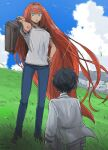 1boy 1girl aozaki_aoko back bandaged_arm bandages bangs black_hair blue_eyes blue_pants blue_sky breasts clouds commentary_request day denim eyebrows_visible_through_hair floating_hair grass hair_between_eyes hair_intakes hand_on_hip holding holding_suitcase jeans long_hair looking_at_another open_mouth outdoors pajamas pants redhead shirt short_hair short_sleeves sidelocks signature sky suitcase t-shirt tohno_shiki tsukihime uhana very_long_hair white_shirt younger