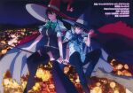 1boy 1girl absurdres artbook black_legwear blurry bokeh bow bowtie breasts broom broom_riding cape city city_lights company_name copyright_name depth_of_field full_body green_bow green_neckwear hat highres huge_breasts kagari_ayaka loafers night official_art outdoors red_cape scan shoes sideways_glance sky star_(sky) starry_sky takamiya_honoka thigh-highs witch witch_craft_works witch_hat zettai_ryouiki