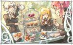 3girls blonde_hair cake cake_slice cake_stand chair closed_eyes corbeau_(tart_magica) cup food highres honey kym lapin_(tart_magica) magia_record:_mahou_shoujo_madoka_magica_gaiden mahou_shoujo_madoka_magica minou_(tart_magica) multiple_girls pink_hair ribbon school_uniform smile table tea_party teacup teapot white_hair