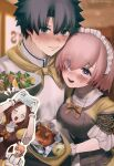 2boys 2girls ahoge alternate_costume bangs black_eyes black_hair blush bow bowtie breasts brown_dress brown_hair cellphone chaldea_logo chef_uniform closed_eyes closed_mouth commentary_request crossed_arms dress eyebrows_visible_through_hair eyes_visible_through_hair fate/grand_order fate_(series) food fujimaru_ritsuka_(male) gloves hair_over_one_eye highres holding holding_food indoors kaita_(mokamilkcup) large_breasts leonardo_da_vinci_(fate) lips long_hair looking_at_viewer maid_headdress mash_kyrielight multiple_boys multiple_girls open_mouth orange_hair phone pink_hair plate ponytail puffy_sleeves romani_archaman short_hair short_sleeves smartphone smile suspenders sweatdrop taking_picture teeth twitter_username two-tone_dress uniform violet_eyes white_gloves yellow_bow yellow_dress yellow_neckwear
