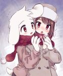 1boy 1other animal_ears asriel_dreemurr bangs blush bob_cut breath breathing_on_hands brown_coat brown_hair brown_pants chara_(undertale) coat crosshatching fangs fur_trim furry furry_male gradient gradient_background hands_up hat hatching_(texture) highres leftporygon looking_at_another looking_at_hands open_mouth orange_eyes pants red_eyes red_scarf scarf shared_scarf short_hair simple_background skin_fangs smile steam swept_bangs tail tareme tsurime undertale upper_body upper_teeth w_arms white_fur winter_clothes