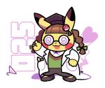 :3 :d artsy-rc braid brown_hair clothed_pokemon clothes_hanger coke-bottle_glasses cosplay_pikachu full_body gen_1_pokemon glasses green_shirt hand_up hat highres labcoat mortarboard no_humans number open_mouth pants pikachu pikachu_phd pokedex_number pokemon pokemon_(creature) shirt shoes signature smile solo twin_braids white_background