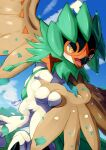 bird clouds commentary_request day decidueye gen_7_pokemon highres leaves_in_wind looking_down no_humans open_mouth orange_pupils outdoors pokemon pokemon_(creature) signature sky tanpakuroom tongue yellow_eyes