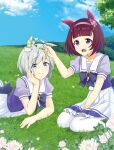 2girls animal_ears back_bow bangs blue_eyes blue_shirt blue_sky blunt_bangs bow brown_hair character_request closed_mouth clouds cloudy_sky clover commentary_request day ear_covers ear_ribbon eyebrows_visible_through_hair flower frilled_skirt frills grass hairband head_rest holding horse_ears kuonkimi looking_at_another lying medium_skirt multiple_girls nice_nature_(umamusume) nishino_flower_(umamusume) on_stomach open_mouth outdoors pleated_skirt puffy_short_sleeves puffy_sleeves purple_bow purple_hairband purple_neckwear sailor_collar school_uniform shirt short_hair short_sleeves silver_hair sitting skirt sky smile thigh-highs tracen_school_uniform umamusume violet_eyes wariza white_flower white_legwear white_sailor_collar white_skirt